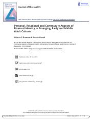 Personal Relational and Community Aspects of Bisexual Identity in Emerging Early and Middle Adult Co