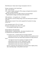 World Resources- Study Guide- Energy Consumption in the U.S.