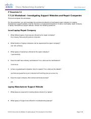 7.7.2.4 Worksheet - Investigating Support Websites and Repair Companies