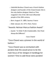 coco chanel work