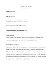 Speaking Plan Template Presentation 3