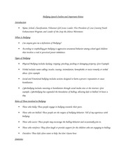Bullying Speech Outline and Important Points