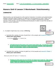 AR- Honors Chemistry—Stoichiometry—Unit 6 Portfolio Activity.docx