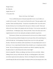 ap english test response short response prompt  5 pages romeo and juliet essay