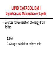 Lipdi Digestion and Absorption - Lecture