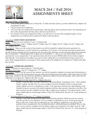 MACS 264 Assignment Sheet Fall 2016
