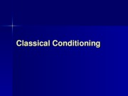 Lecture 3 - Classical Conditioning