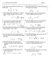 permutations and combinations worksheet with answers - VVKST 11.1 ...