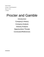 Case study about Procter and Gamble & Consumer Goods Industry