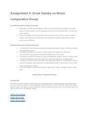 Assignment 4_ Great Gatsby vs Movie comparative Essay (1).docx