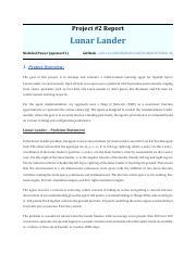 Project2_Report_Lunar_Lander pdf - Project#2 Report Lunar