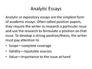 Analytic Essays
