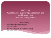 AUD 729-audit tenure,audit specialization and audit report lag