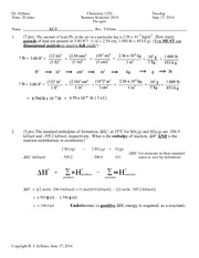 Prequiz 1 Key Summer 2014 on General Chemistry