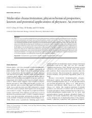 Molecular characterization, physicochemical properties, known and potential applications of phytases