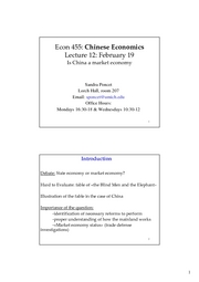 ECON 455 Lecture 12 Is China a market economy