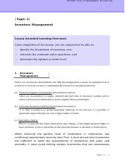 CMA_Topic 3_Inventory Management_Handout.doc
