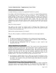 Contract Administration Supplementary Course Notes (1).doc