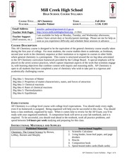 AP Chemistry Syllabus Fall 2014