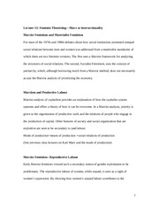 Lecture 11 her notes Lecture 13 Feminist theorizing and Intersectionality