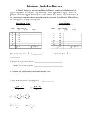 Independent-Samples t-test assignment