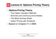 Lecture 8 Options Pricing Theory