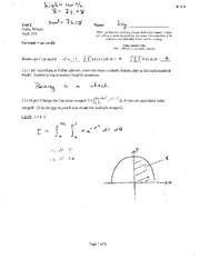 Test 2 Solution Spring 2014 on Multivariable Calculus