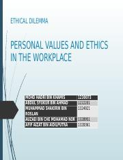 Personal values and ethics in the workplace ethical dilemma personal values and ethics in the workplace ethical dilemma personal values and ethics in the workplace mohd hadri bin khamis abdul syukur bin ahmad publicscrutiny