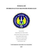Makalah1 Docx Makalah Pembangunan Ekonomi Pedesaan Disusun Oleh Fatikha Munawaroh 16812141002 Hening Adilia Prabawati 16812141016 Krisna Aldhi Course Hero