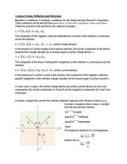 Lecture 6 Notes Reflection and Refraction