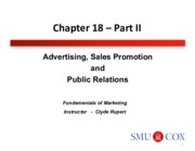 Chapter 18- Advertising, Sales Promotion and Public Relations Pt. 2