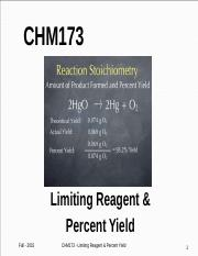 Lecture Topic #13 - Limiting Reagent & Percent Yield.pptx