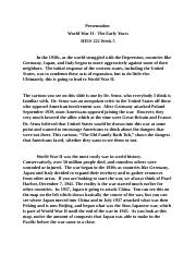 Presentation World War II - The Early Years HIUS 222 Week 5.docx