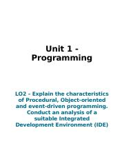 LO2 Explain the characteristics of procedural object orientated and event driven programming.docx