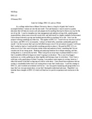 goals for college, eng 112, and as a writer