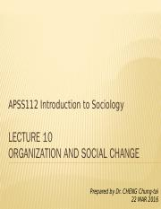 APSS112_L10_Organization and social change