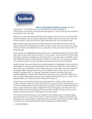 Facebook Persuasive Essay Article, Prompt and Outline