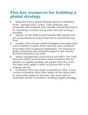 Five key resources for building a global strategy