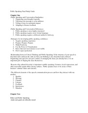 Public Speaking Study Guide 1