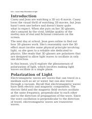8.6.1 - Lesson Map - Polarization of Light
