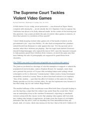 The Supreme Court Tackles Violent Video Games
