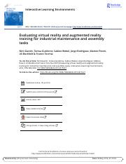 Evaluating virtual reality and augmented reality training for industrial maintenance and assembly ta