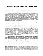 CAPITAL PUNISHMENT DEBATE