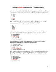 GLGY 301 Final Exam Practice Answers W2015