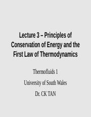 Lecture 3 - Principles of conservation of energy and the first law of thermodynamics