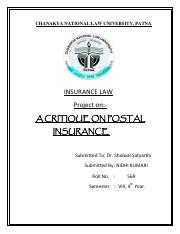 A CRITIQUE ON POSTAL INSURANCE