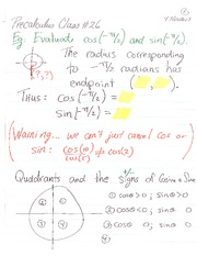 MATH 105 Fall 2013 Unit Circle Quadrants Lecture Notes