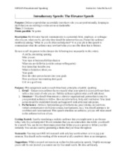 CRS325 Fall 2012 Introductory Speech Guidelines and Rubric
