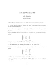 Worksheet 9 Solutions