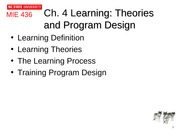 Ch 4 Learning Theories and Transfer of Training